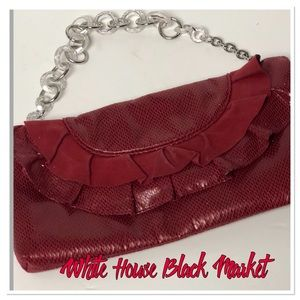 Wihite House Black Market Red Ruffled Purse clutch